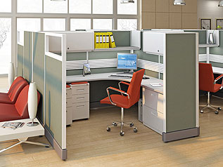 You Can Choose Your Fabric, Laminate, & Trim Colors on Remanufactured Cubicles.